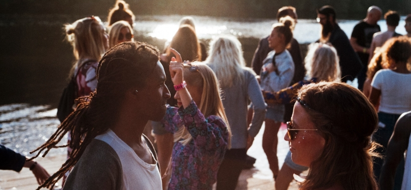 Young people gathered near waterway