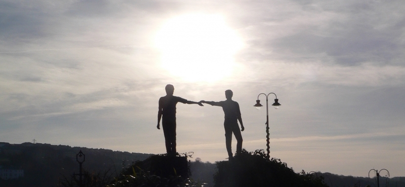Hands Across the Divide Statue in Derry, Northern Ireland