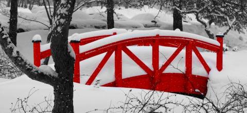 Red foot bridge in snow