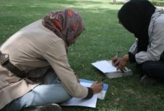 Afghan women writing