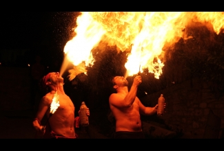 Fire breathers performing in Assisi Italy