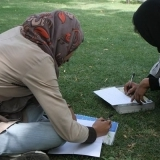 Afghan women writing
