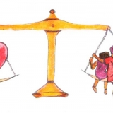 scales of justice balancing a heart and a family