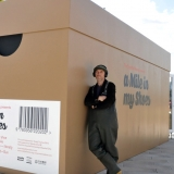 Roman Krznaric, next to his creation, A Mile in My Shoes, the first-ever Empathy Museum in the form of a shoe box.