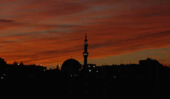 Sunset in Amman, Jordan.