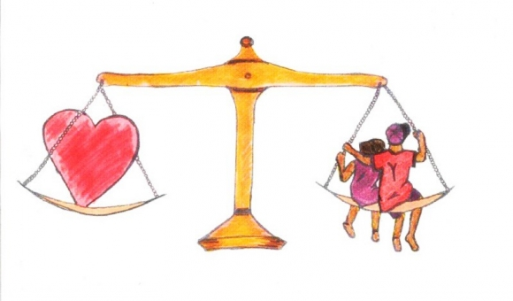 scales of justice balancing heart and family
