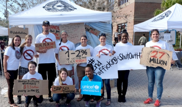 Students at anti-trafficking event