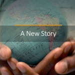 "Hands holding globe with ""new story"" across image"