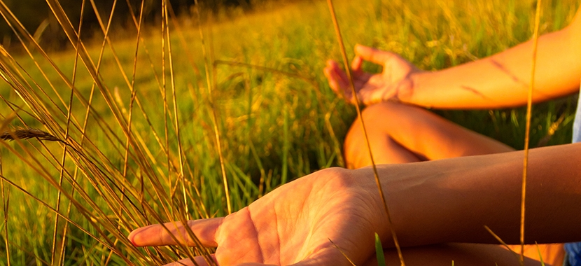 hands view of person sitting in field in an open yoga position