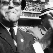 John Fetzer, owner of the Detroit Tigers 1956-1983, cheers on his team from the stands