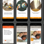StoryCorps images of stories and storytellers on mobile app screens