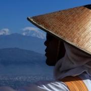 Woman overlooking city in Nepal