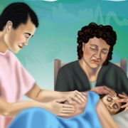 Artwork of a patient on bed with a nurse and friend looking on