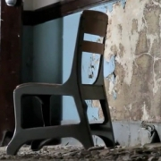chair in abandoned Bancroft School