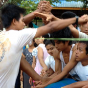 Students in teamwork exercise in Myanmar