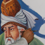 Painting of Mawlana Balkhi (Rumi), a 13th century Sufi mystic with artist's hand and brush