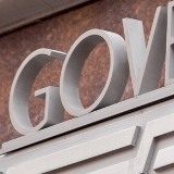 "Close up of ""GOV"" in sign at the US Government Accountability Office"