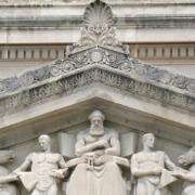 pediment detail with marble relief, court building, Washington, DC