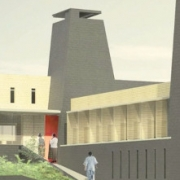 MASS Group's rendering of a new maternity hospital in Nayanza, Rwanda.